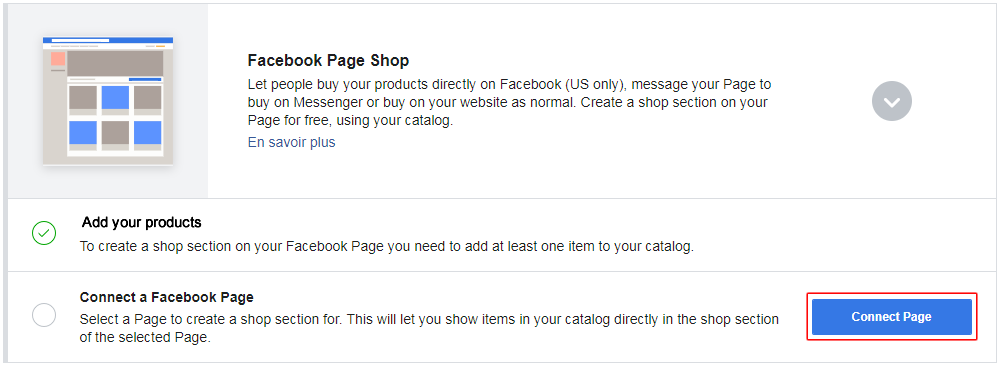 How to connect my product catalog to the shop tab of my
